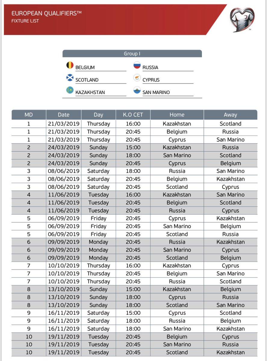 Calendario Qualificazioni Euro 2020.Alessandro Alciato On Twitter Qualificazioni Euro 2020 Il
