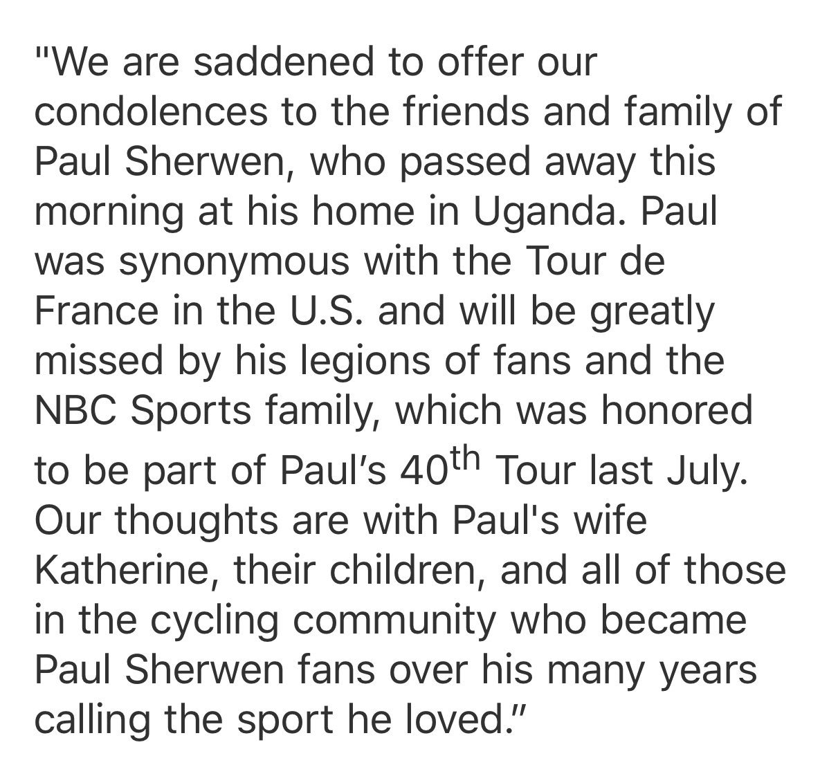 Paul Sherwen, NBC Sports cycling analyst, dies at 62