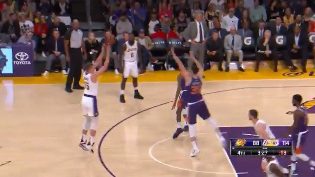 Moe Wagner drops 10 4th quarter PTS for the @Lakers, including his 1st career @NBA field goal. #NBARooks