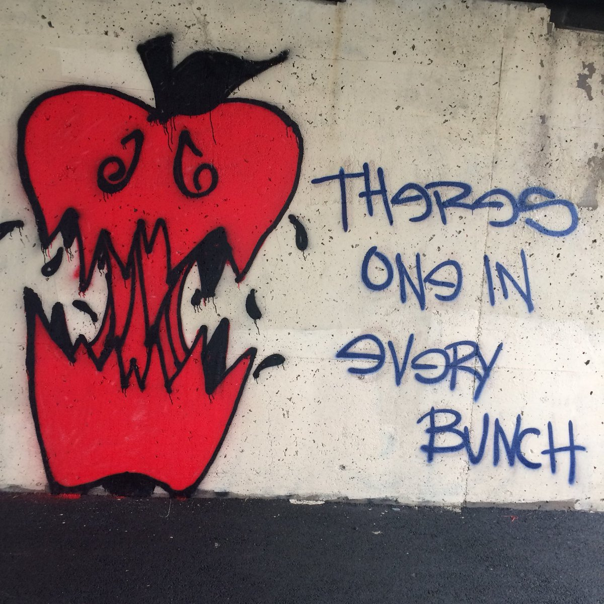 Walked a little farther than usual today and was rewarded with a graffiti art find! #art #graffiti #noonesgirl #badapple #walk #artist #apple