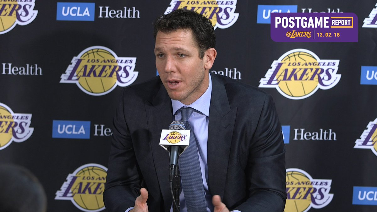 🎥 Luke Walton discusses team turnovers and the spark Beasley, Hart provided off the bench. #LakersWin
