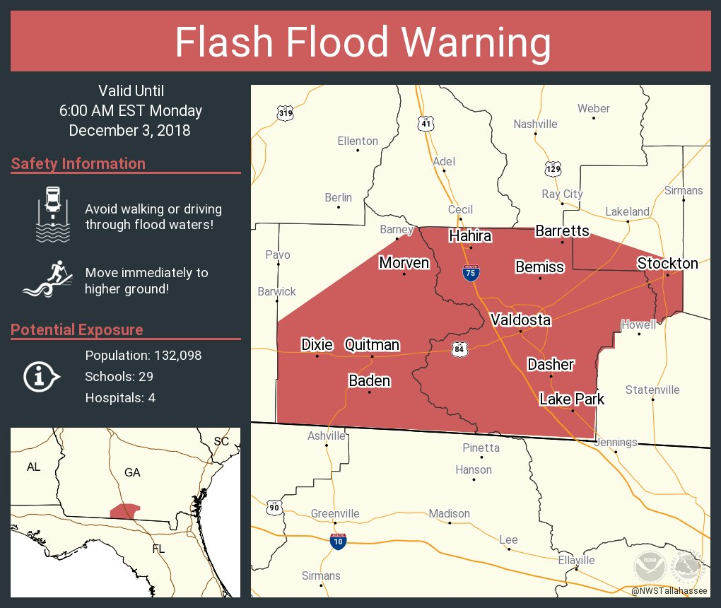Map Of Quitman Georgia.Nws Tallahassee On Twitter Flash Flood Warning Including Valdosta