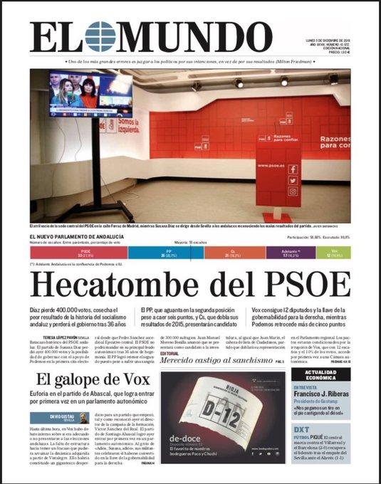 ☕️ Buenos días! 📰 La portada de El Mundo. #FelizLunes Photo
