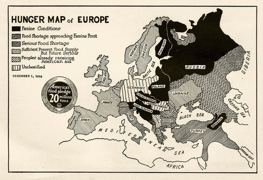 Dec 1, 1918 - 'Hunger Map' of Europe, published by the US government #100yearsago