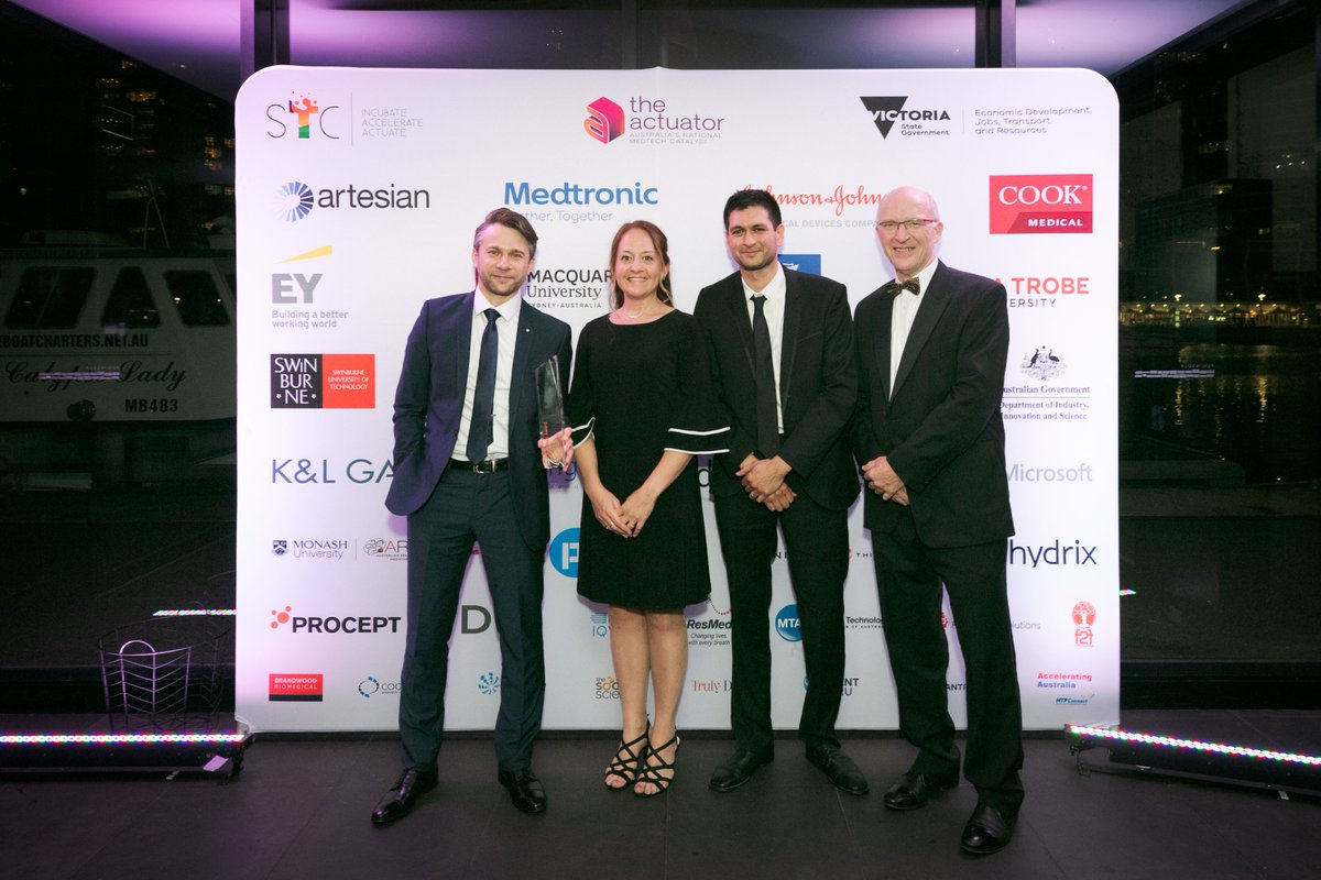 Dr Brian Abbey, Dr Belinda Parker, Dr Eugeniu Balaur and Dr Caroline Bathje have won a $10K Medtronic Award at Medtechs Got Talent for NanoMslide, a new technology that enables any optical microscope to be used for instant, label-free, stain free, histology measurements.