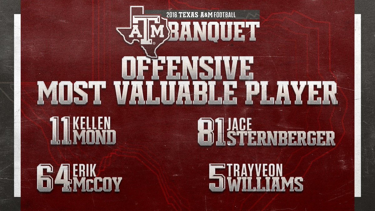 texas a m football on twitter the 2018 offensive most valuable