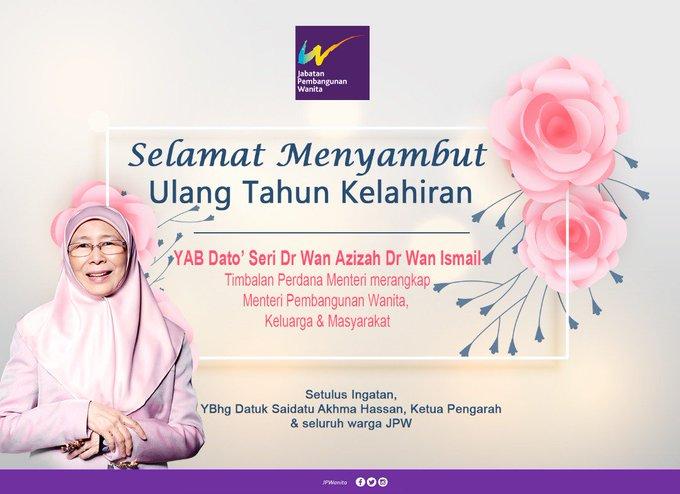 Happy Birthday YAB Dato\ Seri Dr Wan Azizah Dr Wan Ismail. Semoga terus sehat dan sejahtera sentiasa.
