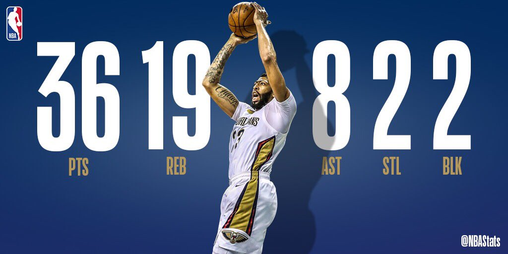 Anthony Davis puts up a HUGE line of 36 PTS, 19 REB, 8 AST to fuel the @PelicansNBA road W! #SAPStatLineOfTheNight