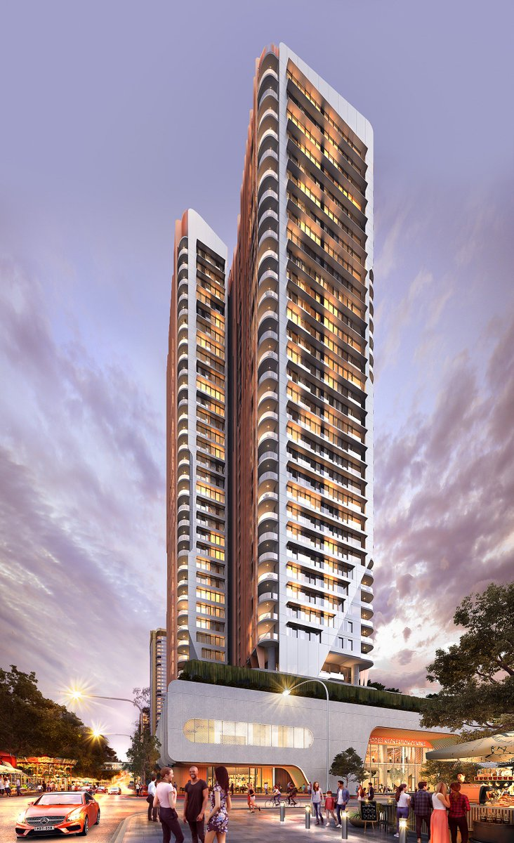Floating skyward, Rhodes Central Stage 3's striking copper-faced tower lights up the inner reaches of Sydney Harbour!  Visit our Display Suite and learn more at https://t.co/MkePk2ttvF  #newresidentialproject #architecturaldesign #luxuryhomes