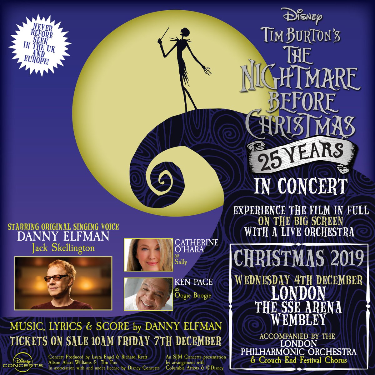 Just announced. Tim Burtons The Nightmare Before Christmas Live in Concert with Danny Elfman, Catherine OHara and Ken Page performing live here in December 2019. Get hold of tickets here on Friday: bit.ly/NightmareBefor…