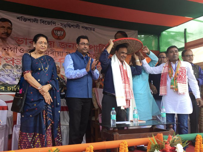 People of #Nagaon are amazingly wonderful. Great coming here again today and meet bright young men & women yearning to script a change for themselves by bringing in @BJP4Assam in panchayat elections. I thank you for your very warm support. @BJP4India #Vote4BJP Photo