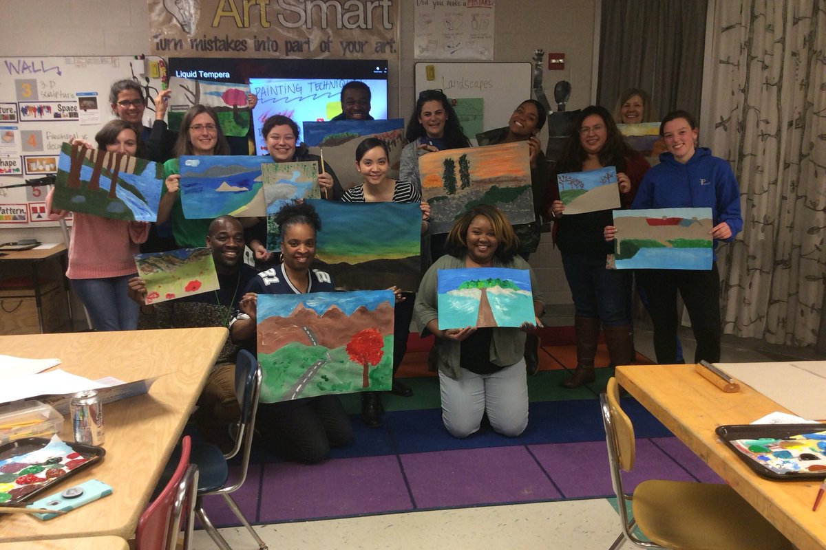 Oakridge teachers and staff learning how to paint <a target='_blank' href='http://search.twitter.com/search?q=landscapes'><a target='_blank' href='https://twitter.com/hashtag/landscapes?src=hash'>#landscapes</a></a>. <a target='_blank' href='http://twitter.com/OakridgeConnect'>@OakridgeConnect</a> <a target='_blank' href='http://twitter.com/APSArts'>@APSArts</a> <a target='_blank' href='http://twitter.com/OakridgeSpecial'>@OakridgeSpecial</a> <a target='_blank' href='http://twitter.com/OakridgeKinder'>@OakridgeKinder</a> <a target='_blank' href='https://t.co/xxm9DJSETA'>https://t.co/xxm9DJSETA</a>