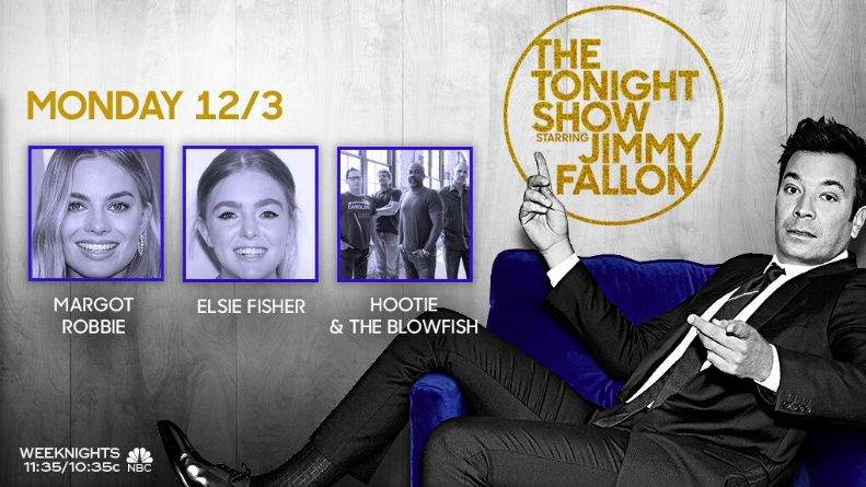 TONIGHT: @MargotRobbie, @ElsieKFisher and music from @HootieTweets! #FallonTonight