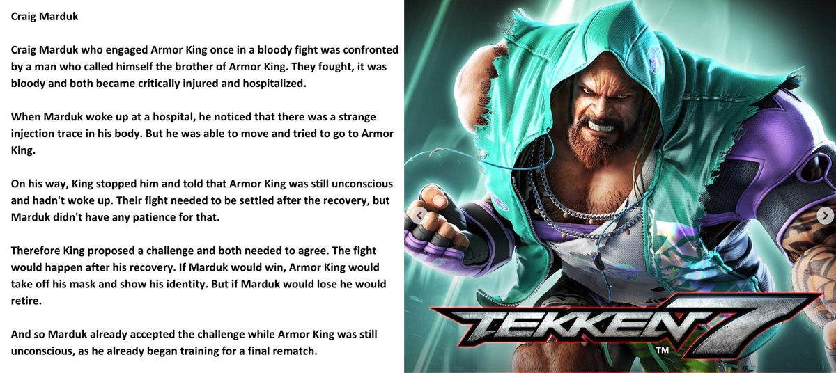Yellowmotion On Twitter Craig Marduk S Story In A Nutshell For Tekken 7 Not That There Is Story Content Or Endings But They Still Have A Bio Translated By Yours Truly