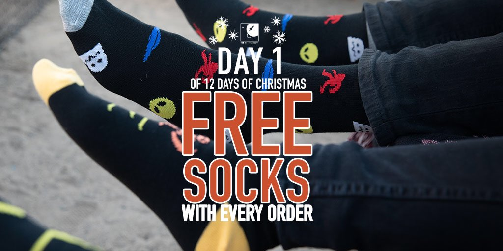 Our 12 Days of Xmas starts NOW with FREE SOCKS with every order! TODAY ONLY (While supplies last, digital & pop-up items excluded) tothestars.media/collections/al…