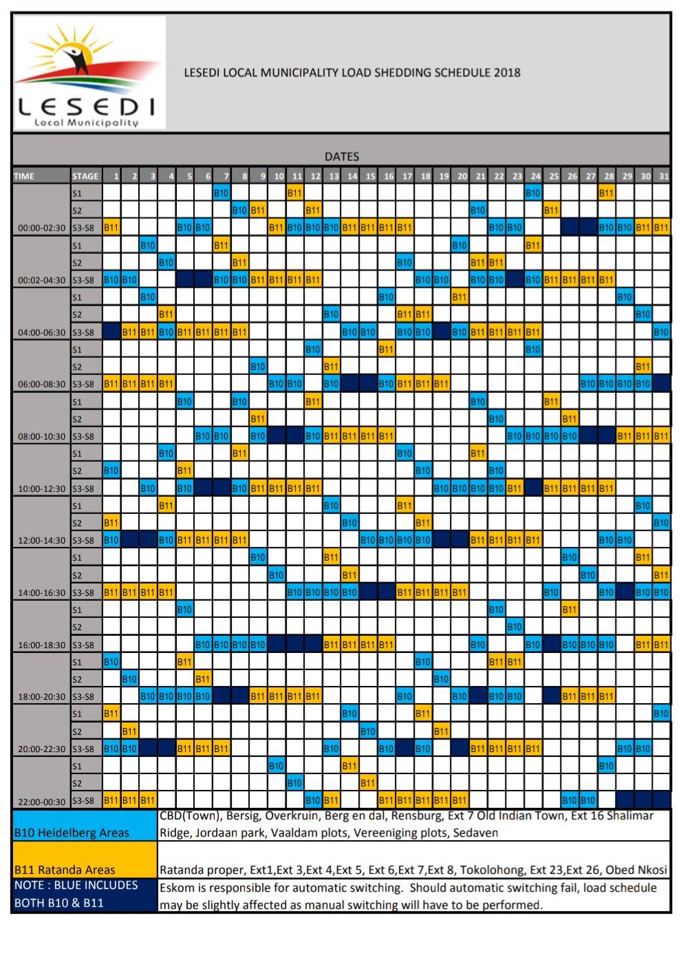 HEIDELBERG Load Shedding Schedule   Heidelberg Nigel Heraut