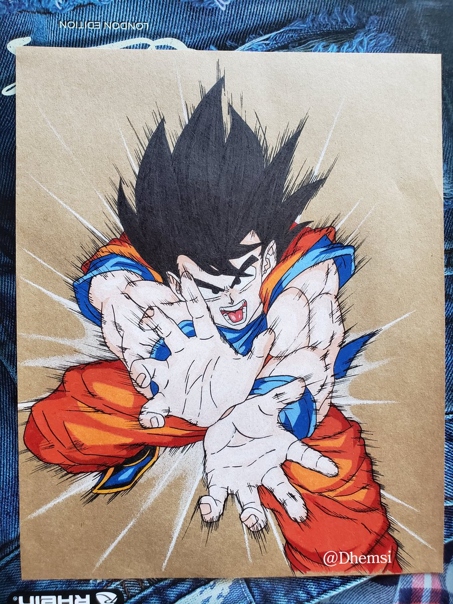 Dhemsi On Twitter Dibujo En Papel Kraft De Goku Haciendo El