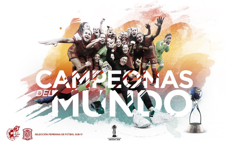 ¡Muchísimas felicidades a nuestra @SeFutbolFem Sub-17, CAMPEONAS DEL MUNDO! 🏆🥇 ¡El mayor hito del fútbol femenino español! 🇪🇸 #Campeonísimas #U17WWC #TodasAporElMundial