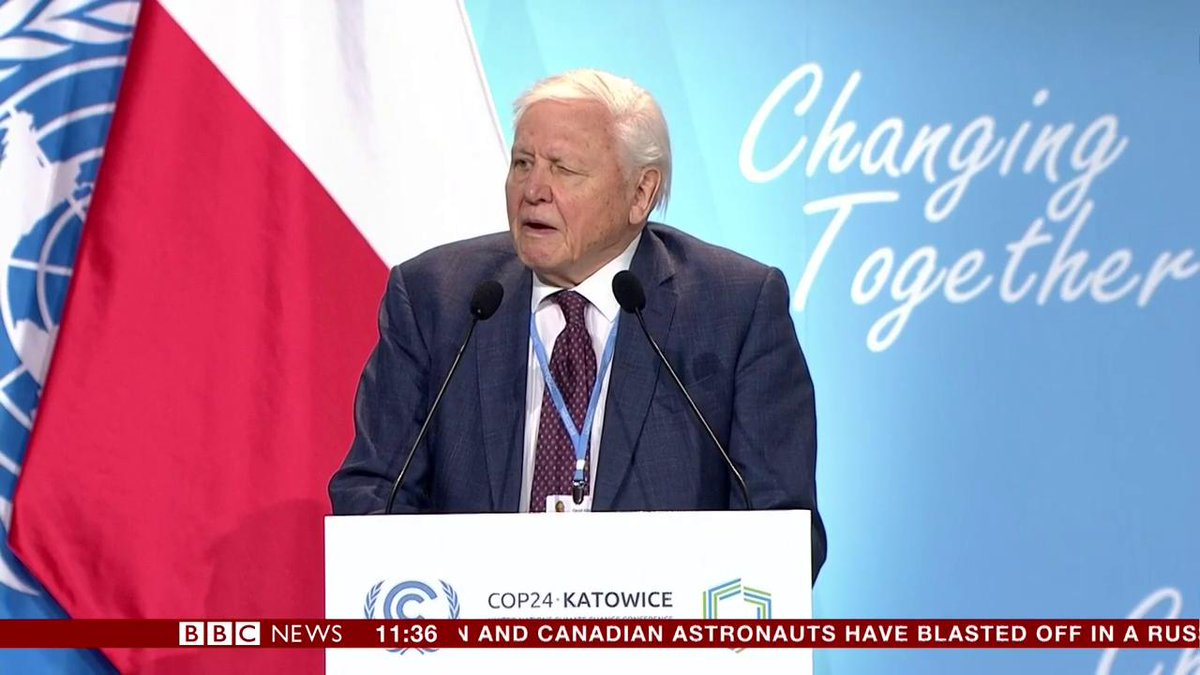 """""""We're facing a man-made disaster of global scale... time is running out"""" - Sir David Attenborough issues warning at UN Climate Conference #COP24 in Poland http://bbc.in/2Pd3yfP"""