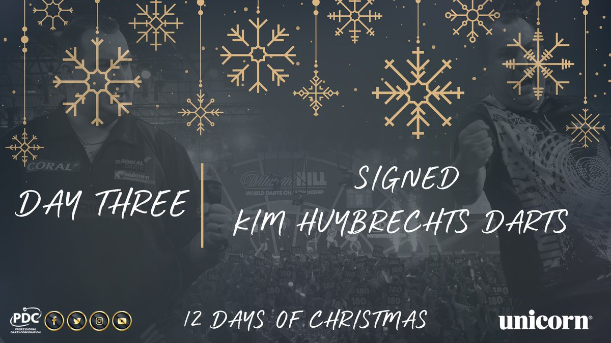 DAY THREE!  RT to win a signed set of Kim Huybrechts darts, courtesy of @UnicornDarts.  #PDC12DaysOfChristmas https://t.co/mUZyBZJZOE