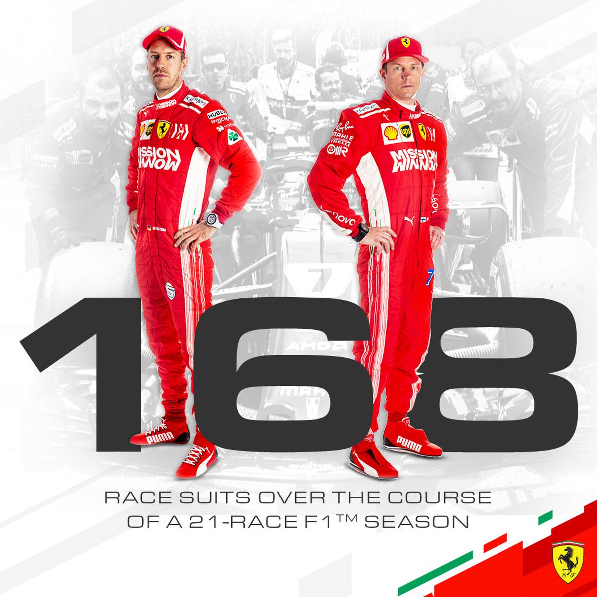 Scuderia Ferrari On Twitter Didyouknow Over The Course Of A 21 Race F1 Season Seb5 And Kimi7 Used 168 Race Suits That S Enough To Clothe The Trackside Team Twice Over Forzaferrari Https T Co Mhtjsggcja