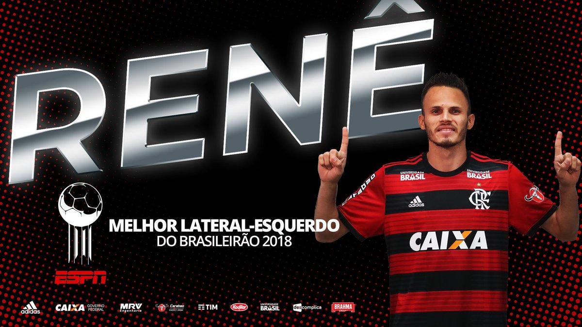 E Renê leva a Bola de Prata do Brasileirão 2018 como melhor lateral esquerdo do campeonato! #BolaDePrataESPN #CRF