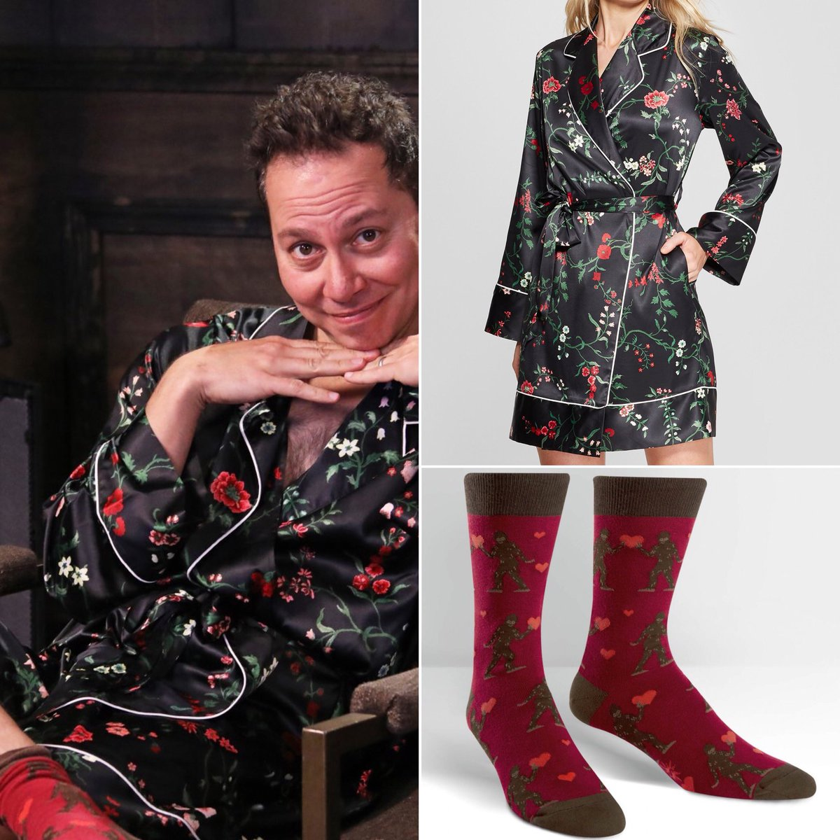 """cc903f364d77 sam wore the """"women s floral print satin robe"""" by gilligan   o malley and  the """"men s sasquatch valentine"""" socks by alicia reese on fireside chat with  sam ..."""