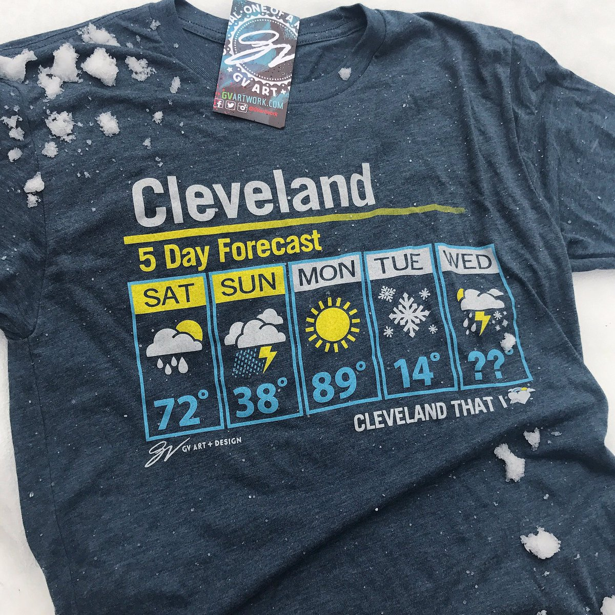 5ab14100 A 30 degree drop in temps from yesterday to today deserves 30% off on our  Cleveland 5 Day Forecast shirt! Use code