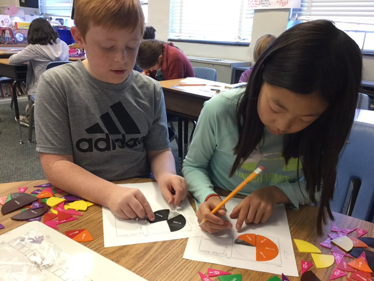 Mr. Rumerman's 4th Graders use circle fraction pieces to conceptually and concretely demonstrate fraction equivalency. Not every fraction makes the cut when determining equivalency! <a target='_blank' href='http://twitter.com/APS_ATS'>@APS_ATS</a> <a target='_blank' href='http://twitter.com/APSMath'>@APSMath</a> <a target='_blank' href='http://search.twitter.com/search?q=ATSLearns'><a target='_blank' href='https://twitter.com/hashtag/ATSLearns?src=hash'>#ATSLearns</a></a> <a target='_blank' href='https://t.co/UAFRnT0GWp'>https://t.co/UAFRnT0GWp</a>