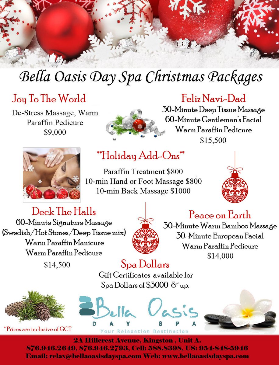 Christmas Spa Packages.Bella Oasis Day Spa On Twitter Make Christmas Extra