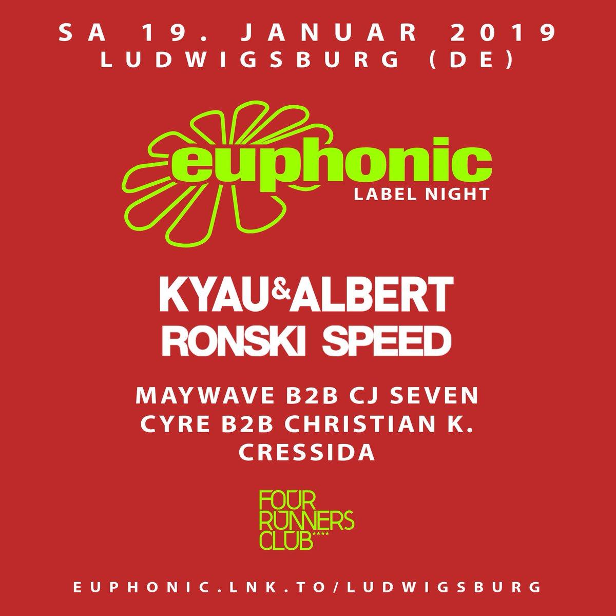 19.1.19 @EuphonicRec Night near #Stuttgart w/ @ronskispeed @maywavemusic @cjsevenmusic @Cyre @DJCyre @Cressidamusic > http://EUPHONIC.LNK.TO/LUDWIGSBURG