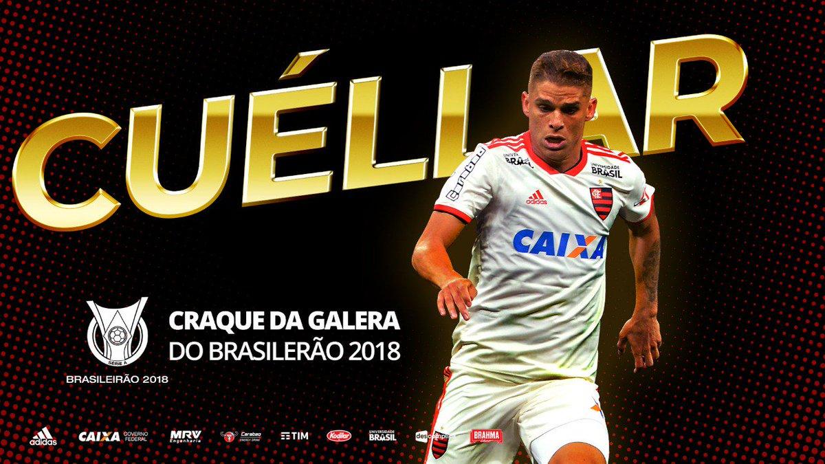 A Nação Rubro-Negra fez a diferença mais uma vez e elegeu Cuéllar como Craque da Galera do Campeonato Brasileiro 2018. Obrigado pelo apoio! #PrêmioBrasileirão2018