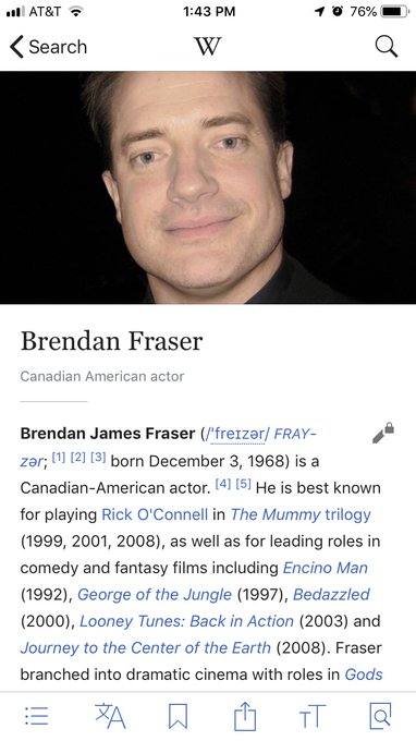 Happy birthday to our beautiful, sweet prince, Brendan Fraser.