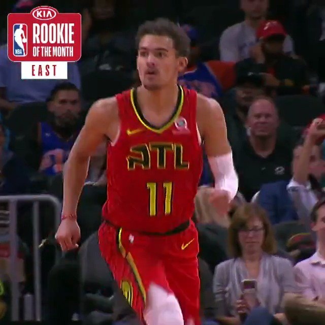 Trae Young named Eastern Conf. Rookie of the Month. During Oct. & Nov, he averaged 15.6 PPG & 7.6 APG. #NBARooks
