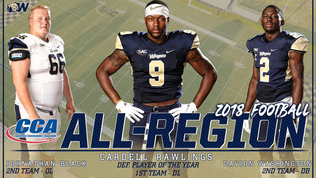 Congrats to @WingateFootball's Cardell Rawlings! He's been named the D2CCA Super Region 2 Defensive Player of the Year!!! He's joined by Johnathon Black and Davion Washington on the All-Region Teams!  STORY   http://bit.ly/FBD2CCA #OneDog #WUFB