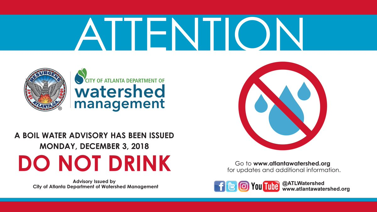 Atlanta Watershed On Twitter Boil Water Advisory Update The Areas