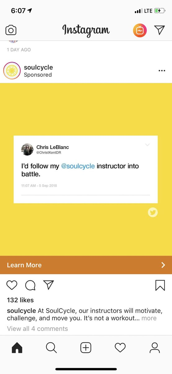 I love seeing an Instagram Ad OF A TWEET. ⁦@soulcycle⁩
