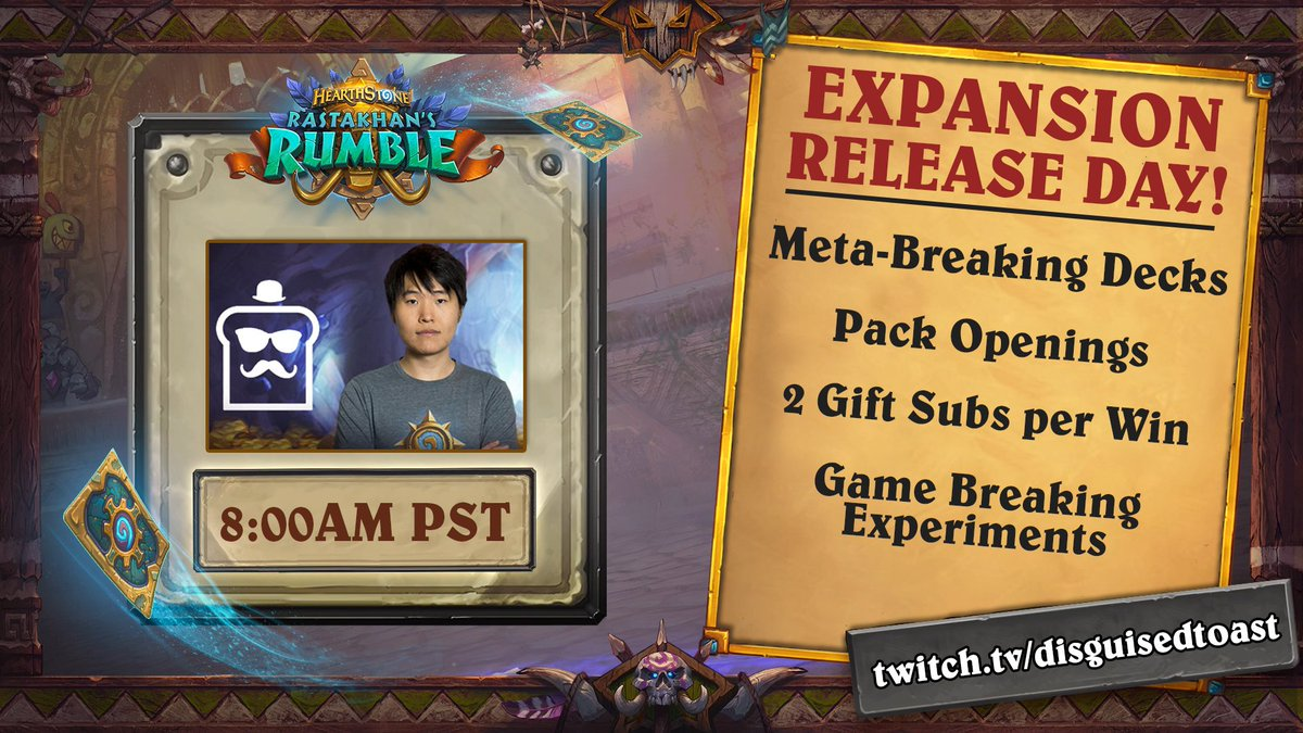 Will be playing Hearthstone ALL DAY tomorrow for the new Rastakhan expansion!  Please tune in and help us reach #1 on Twitch again, even having the stream up in the background means a lot <3  Also will be giving away $20 BNet cards to 5 lucky individuals who RT this Tweet!