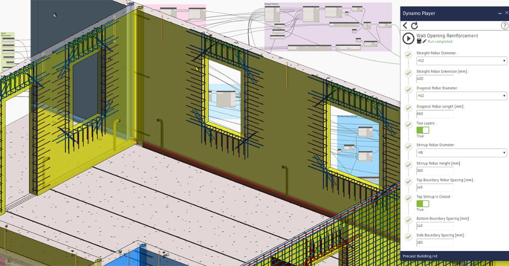 Check out this @AutodeskRevit blog to learn how to automate reinforcement designs with Dynamo on the example of standard rebar designs for window and door openings. https://autode.sk/2PZ2TDX