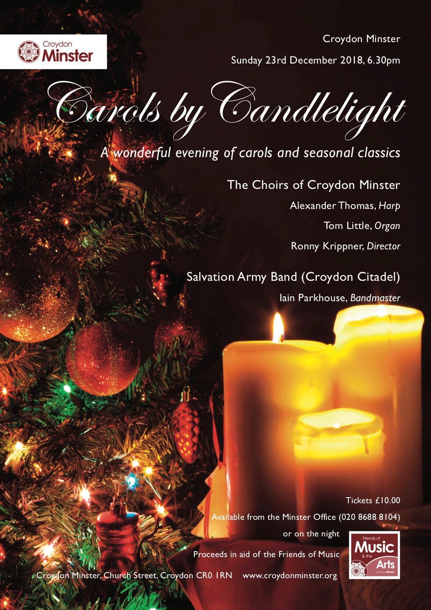 """Carols by Candlelight"" - come and join us for a wonderful evening of carols and seasonal classics, featuring our Choir and the Salvation Army Band (Croydon Citadel). Sun 23 Dec 2018 at 6.30pm. Tickets (£10) are available on the door. @1596Whitgift @croydoncitadel"