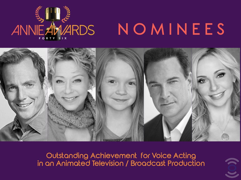 Congratulations to this year's @AnnieAwards Nominees in the Outstanding Achievement for Voice Acting in an Animated TV Production category: Will Arnett, @DebiDerryberry, Juliette Donenfeld, @paddywarbucks, & @tarastrong. Visit https://annieawards.org/nominees  for full list. #AnnieAwards