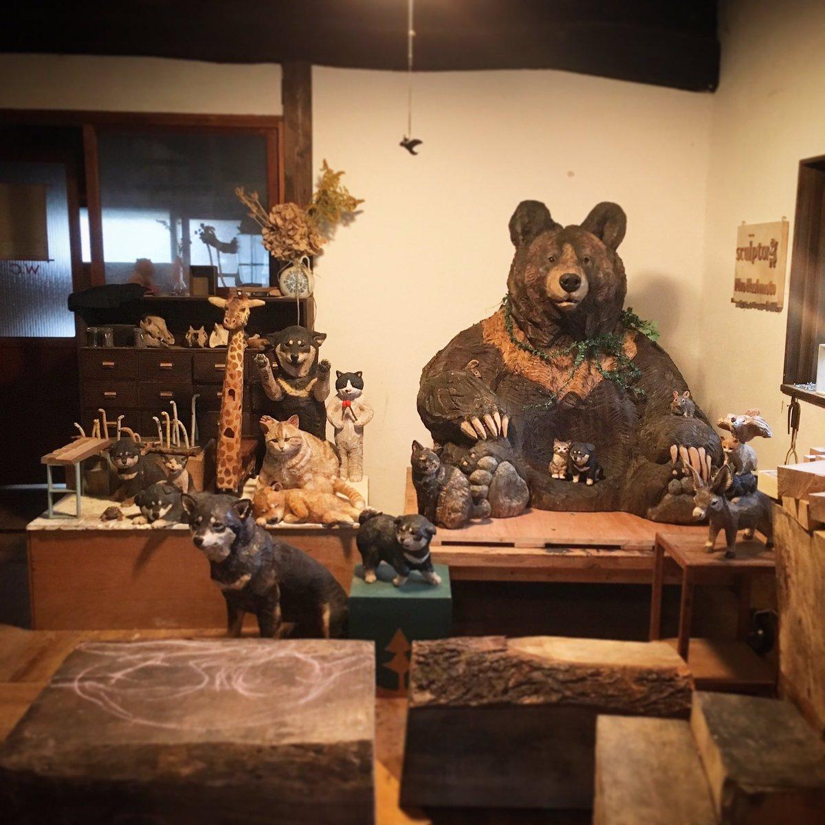 アトリエにクマのシュウくんが展覧会から帰ってきてくれました、おかえり〜!シュウくんが帰ってくるとアトリエはまるで森の中。