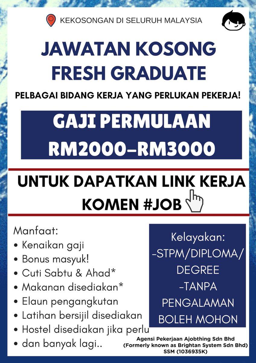 Maukerja On Twitter Jawatan Kosong Fresh Graduate Pengambilan Dari Seluruh Malaysia Pelbagai Bidang Kerja Boleh Pilih Gaji Permulaan Sehingga Rm3000 Kelayakan Stpm Diploma Degree Tanpa Pengalaman Latihan Disediakan Untuk Dapatkan Link Kerja Komen