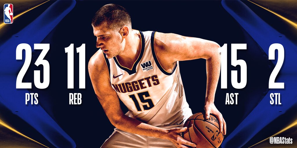 Nikola Jokic records his 18th career triple-double in the @nuggets road victory! #SAPStatLineOfTheNight