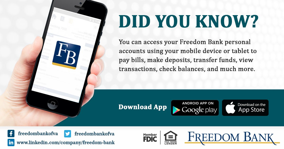 THE FREEDOM BANK OF VA on Twitter: