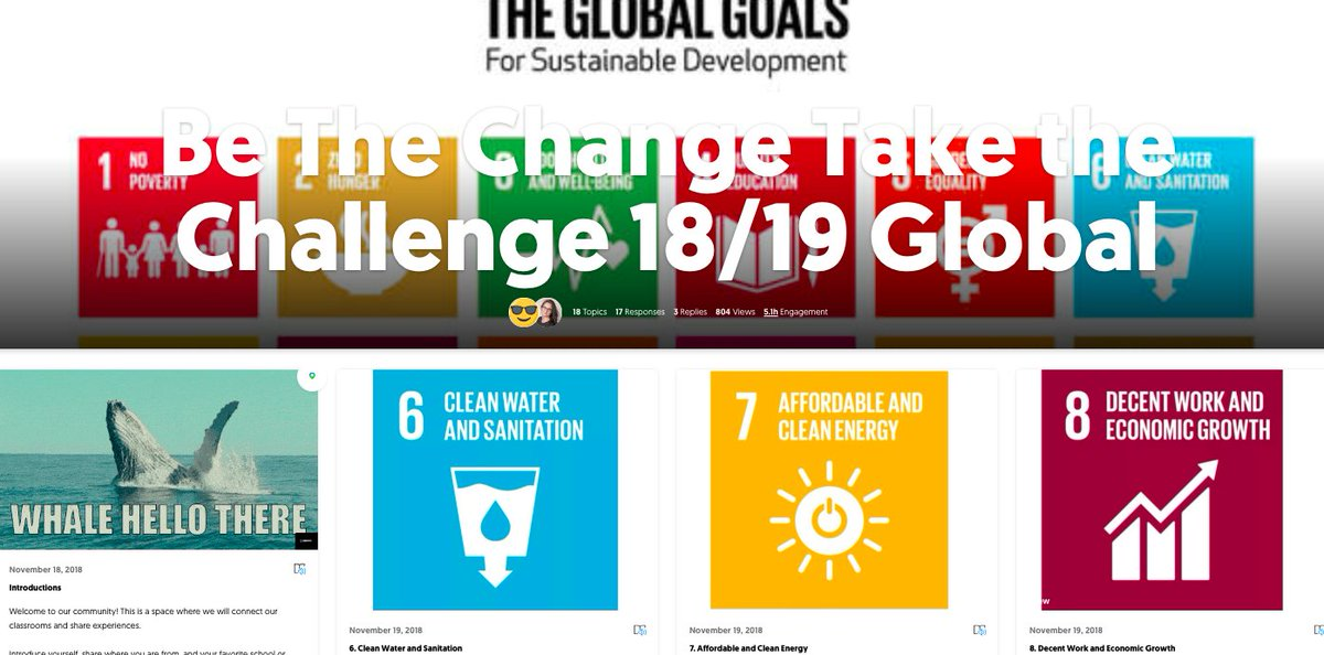 Looking forward to the contributions of the #bethechangetakethechallenge1819 teachers and students! #TeachSDGs