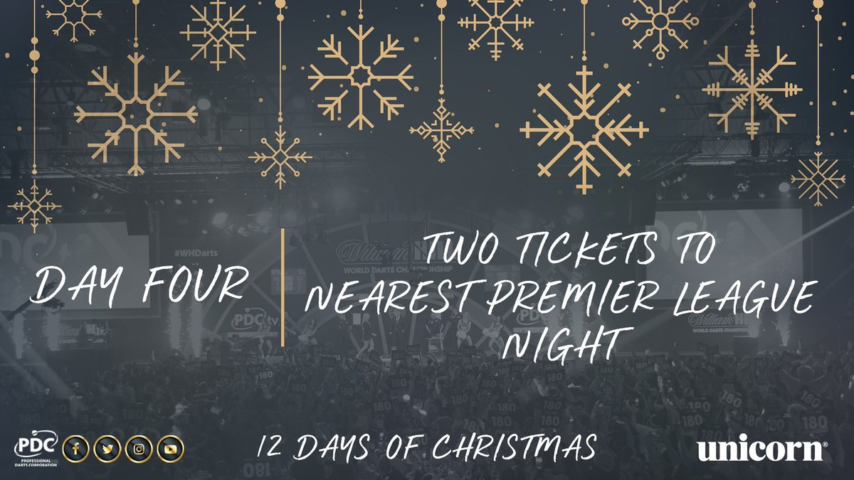 DAY FOUR!   Retweet for the chance to win two tickets to your nearest @unibet Premier League night in 2019!  #PDC12DaysOfChristmas https://t.co/KdZmKBjGNe