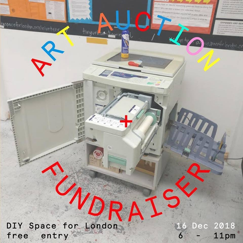 Fundraiser Art Auction to raise money for new RISO 💌 London-based Artists, designers, photographers, and makers, bring your work to @diyspaceforlondon before the art fair on the 16th, to be featured in our xmas auction! Details: facebook.com/events/2101782…