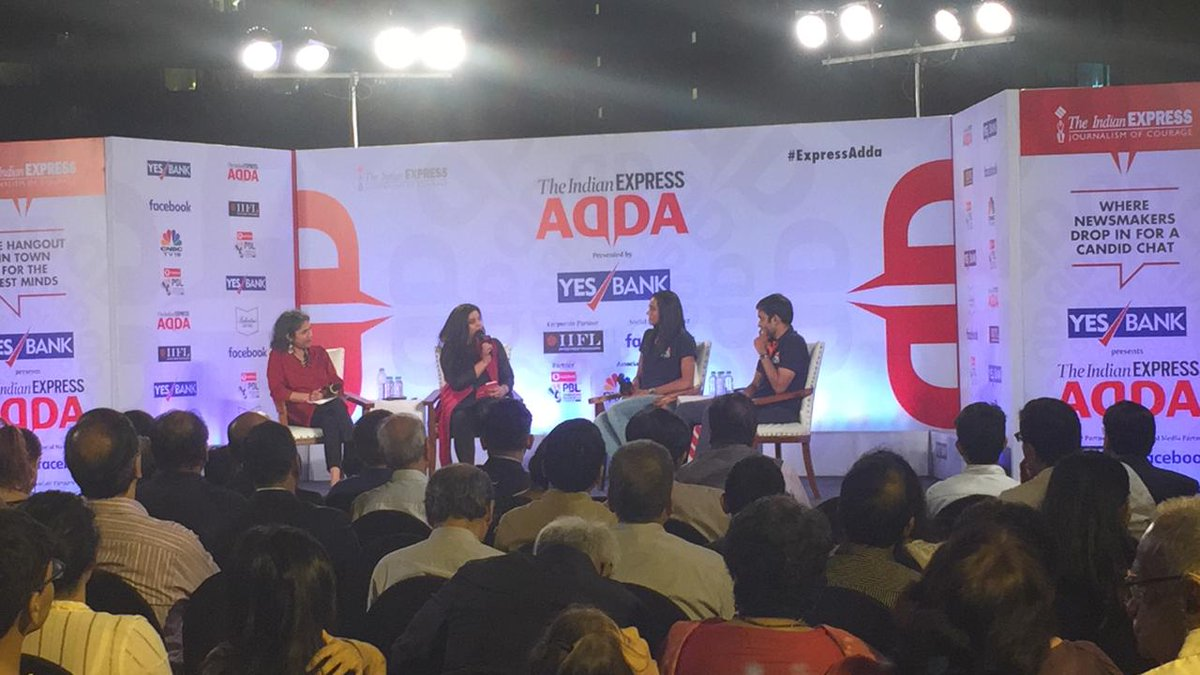 Birds of a feather at #ExpressAdda @Pvsindhu1 and coach Pullela Gopichand with @seemay and Shivani Naik of @IndianExpress @IIFLWEALTH Watch the conversation LIVE here: bit.ly/2KTRtvN