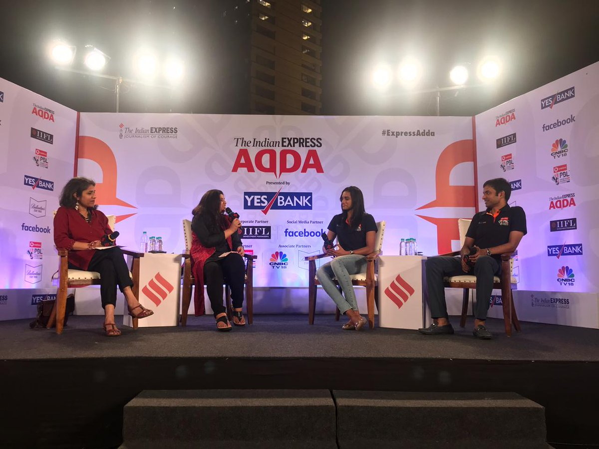 #ExpressAdda | Everyday is a learning process, and we learnt a lot from our seniors, including @NSaina, @Pvsindhu1 says. @YESBANK Watch the conversation LIVE here: bit.ly/2KTRtvN